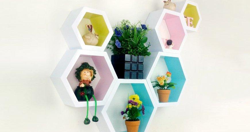Cómo hacer baldas decorativas en hexágono
