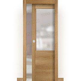 Puertas Correderas de Madera:  Puerta Corredera con Obra Mod. Oporto Roble ZV1