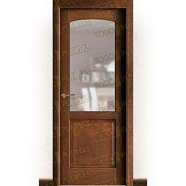 Puertas Rústicas de Interior:  Puerta Block Maciza Mod. Almería nogal oscuro ZV1