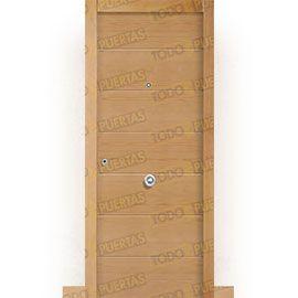 Puertas de Entrada y de Exterior de Madera:  Puerta de Entrada Blindada Moderna Montana Haya Vaporizada