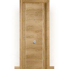Puertas Blindadas:  Puerta de Entrada Blindada Moderna Oporto Grecado-BL Roble
