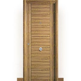 Puertas de Entrada y de Exterior de Madera:  Puerta de Entrada Blindada Moderna Támesis Zebrano