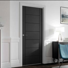Puertas Baratas y Accesorios para puertas:  Puerta Block Maciza Lacada en Negra Mod. Montecarlo