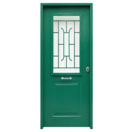 Puertas de Exterior y de Calle:  Puerta de Acero Galvanizado Mod. CLÁSICA-CR REJA SAGA100 Cristal