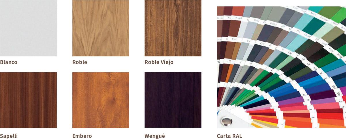 Colores disponibles para nuestras puertas galvanizadas saga 100